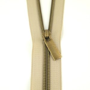Sallie Tomato Zipper Lynlaas Beige no 5 Nylon Coil Antique Brass Oxyderet messing
