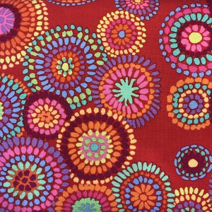 Kaffe Fassett Mosaic Circles Rød Roed Patchwork Quilt stof tekstil