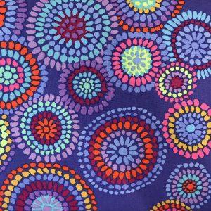 Kaffe Fassett Mosaic Circles Blå Blaa Patchwork Quilt stof tekstil